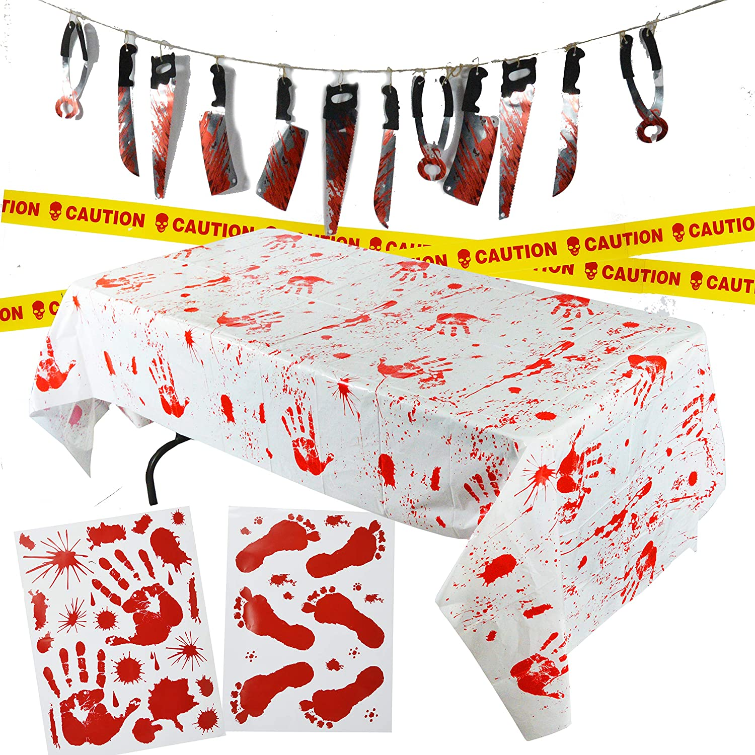 Spooktacular Creations Halloween Party Decoration Set, Including Bloody Tablecover, Weapon Garland, Bloody Clings and Caution Tapes, 5 Piece