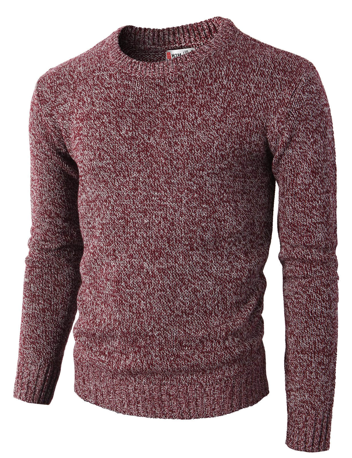 H2H Mens Slim Fit Basic Ribbed Thermal Turtleneck Pullover Sweaters Maroon US M/Asia L (KMOSWL0122) by H2H (Image #1)