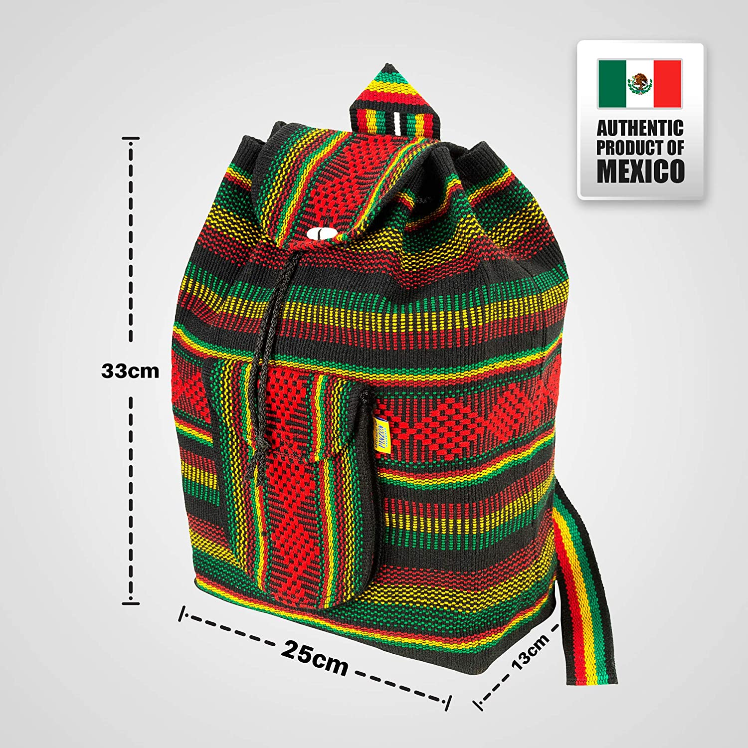 PINZON Large Unisex Hippie Backpack Woven Canvas Rucksack Mexican Baja Boho Aztec Girls School Bags Boys Foldable Bag Casual Daypack for Beach Unisex ...