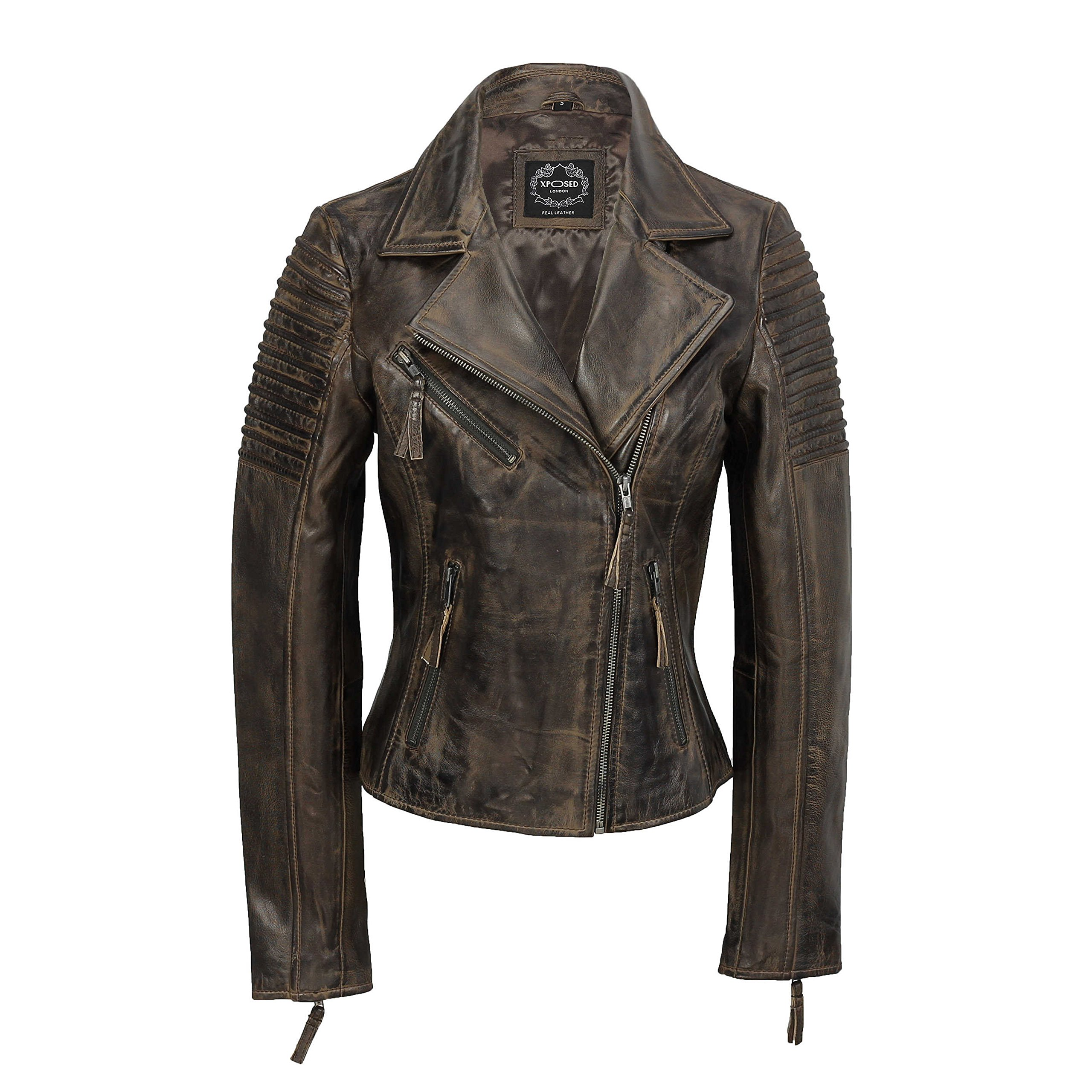 Ladies Women Vintage Style Soft Antique Washed Real Leather Biker Jacket Slim Fit Size in 6 Colours [Antique Brown,L-12] by XPOSED