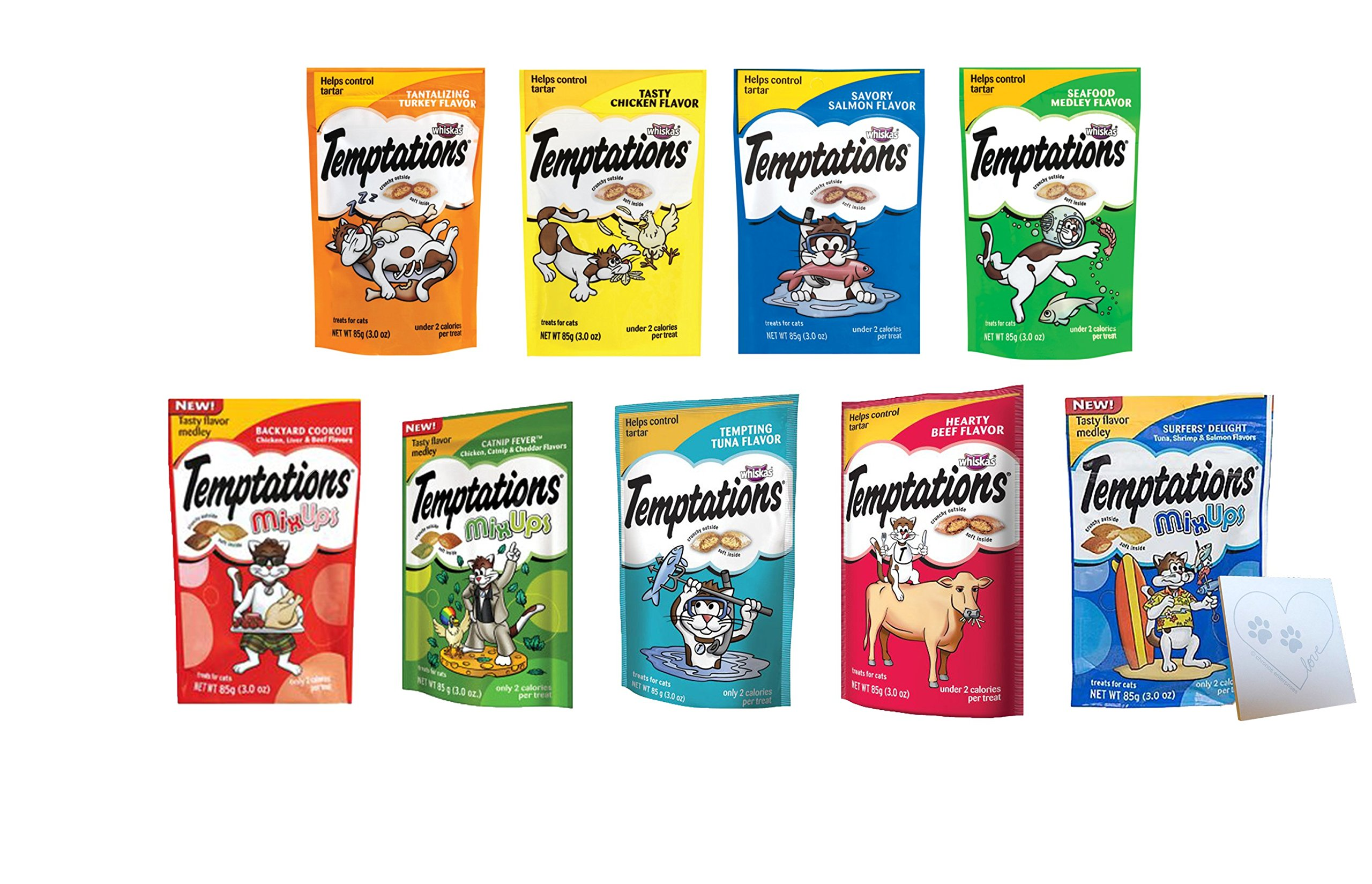 Temptations Huge Variety Pack, All 9 Flavors: Chicken, Salmon, Seafood Medley, Turkey, Tuna, Catnip Fever, Beef, Surfer, Cookout and 1 Pet Paws Notepad (9 Bags Total, 3 Ounces each) by Temptations