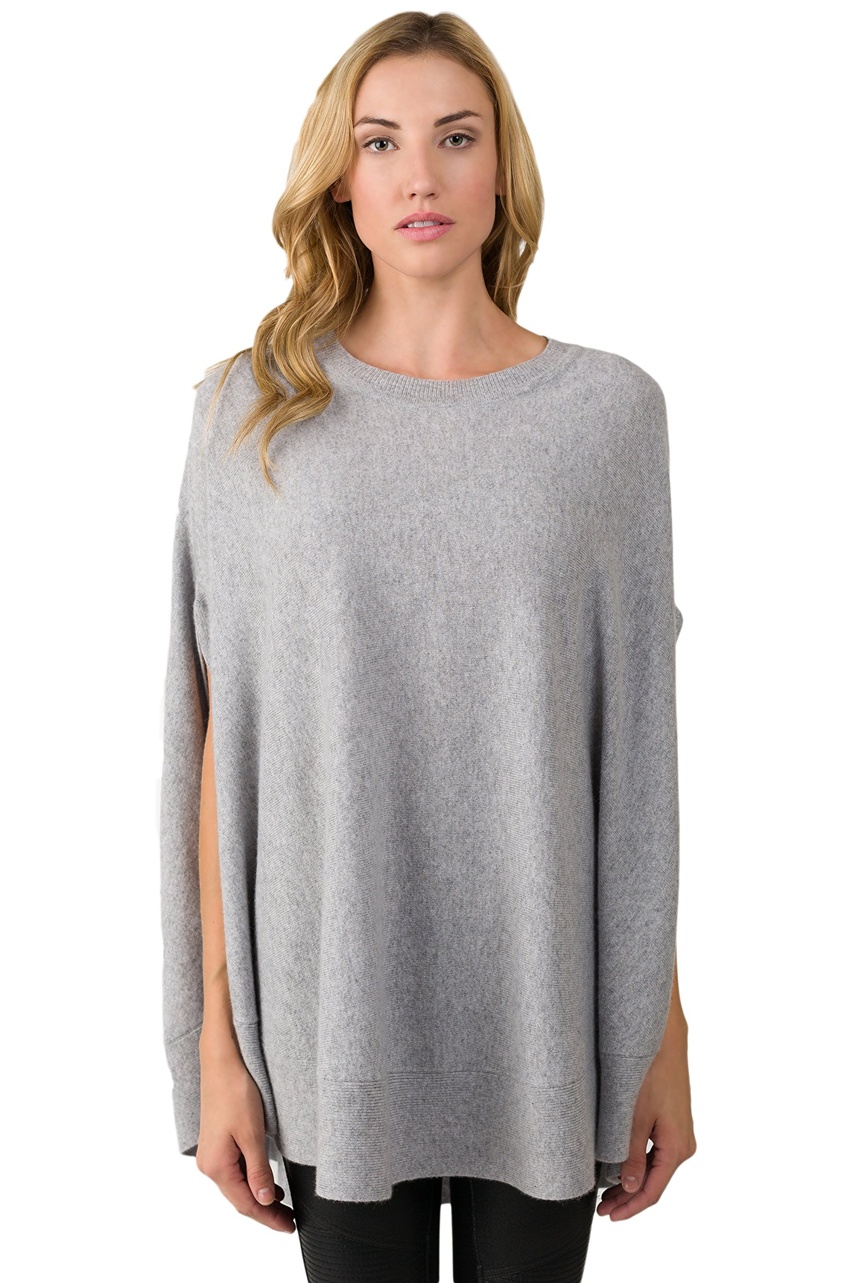 J CASHMERE Women's 100% Cashmere Oversized Laid-Back Poncho Sweater Grey by J CASHMERE