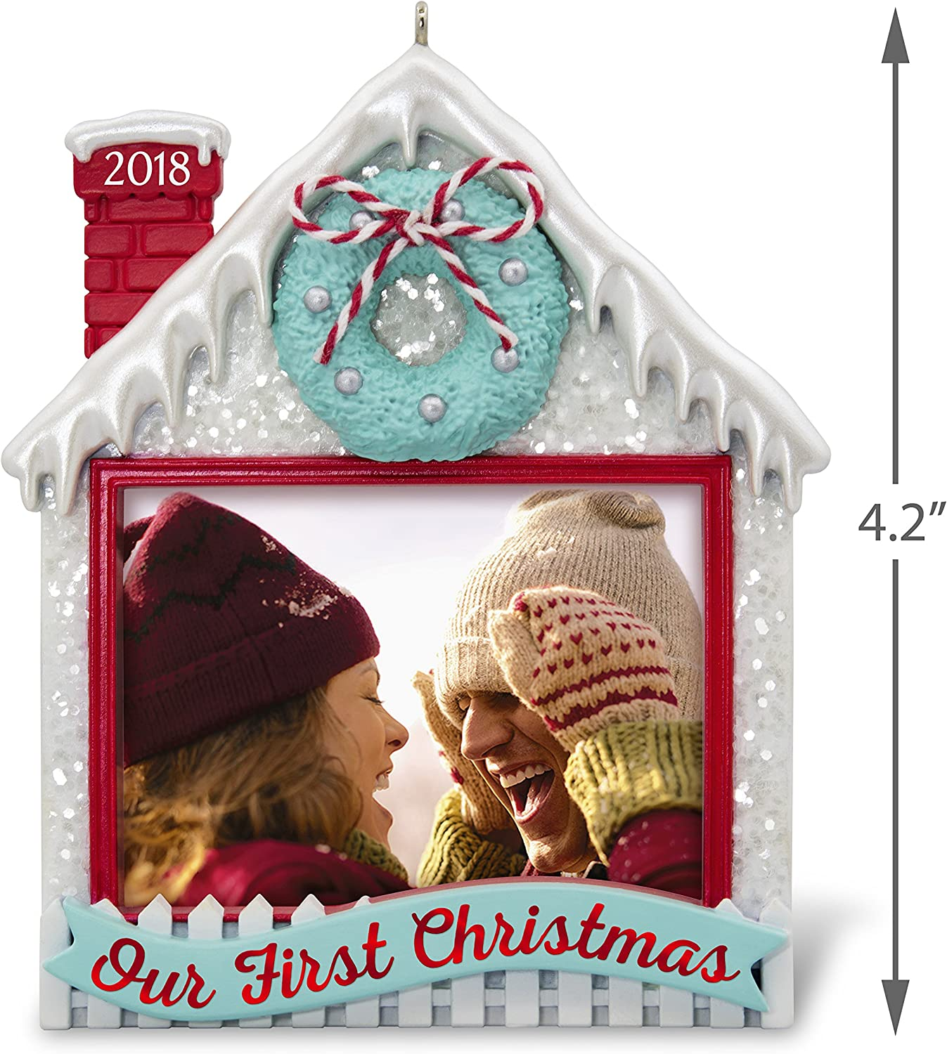 Snow Couple Holding Frame Personalized Christmas Tree Ornament