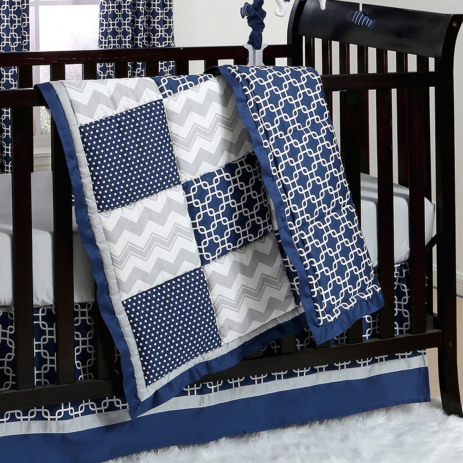 Navy Blue and Grey Geometric Patchwork 3 Piece Crib Bedding by The Peanut Shell by The Peanut Shell   B01KOO92CS