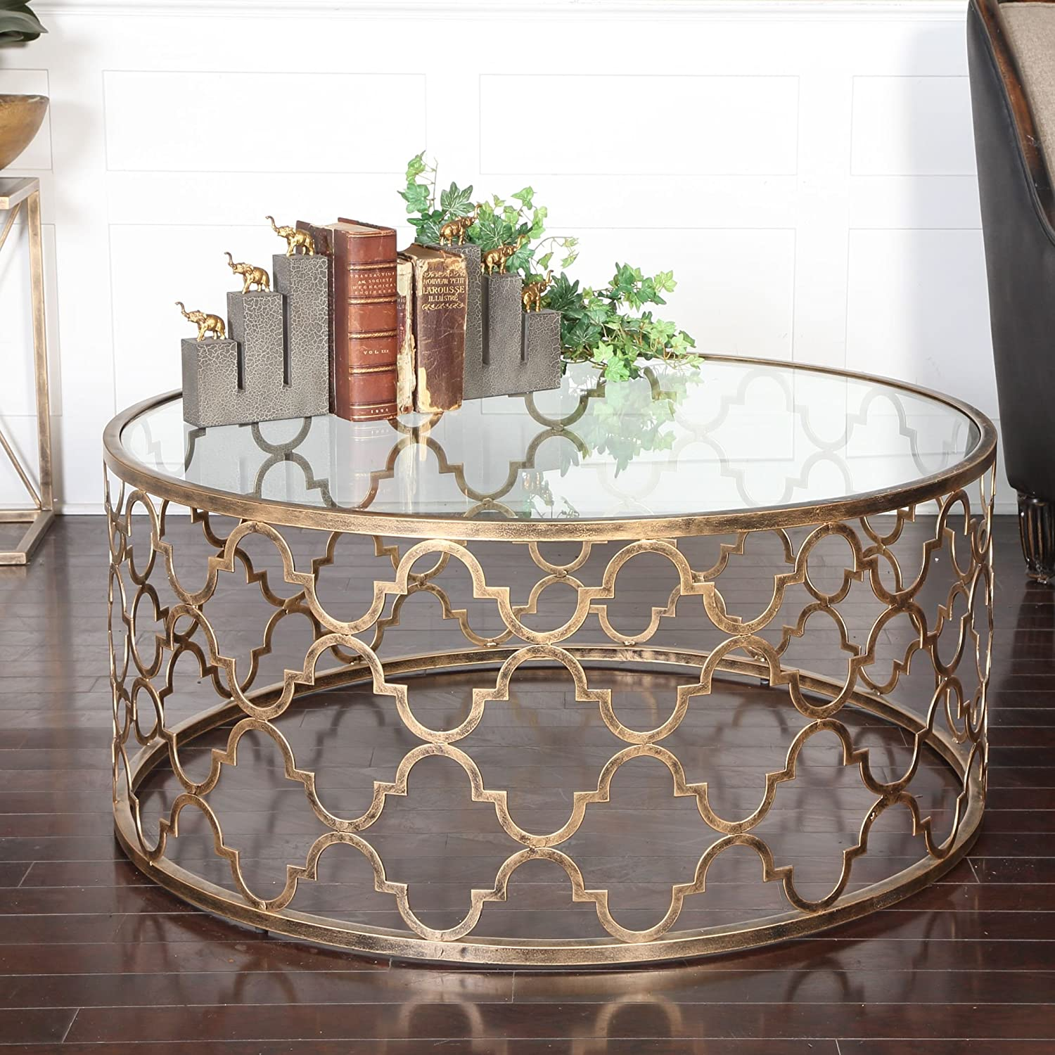 Amazon Open Gold Iron Quatrefoil Coffee Table
