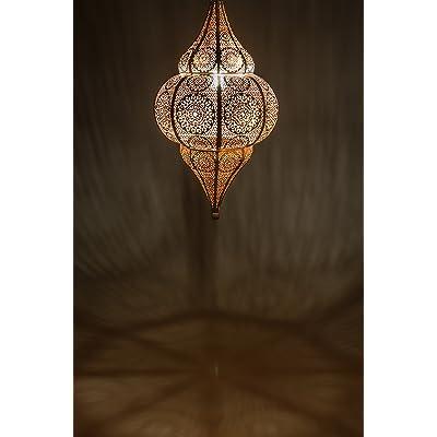 Lampe Suspension Luminaire Marocaine Malha 50cm Blanc E14 Douille
