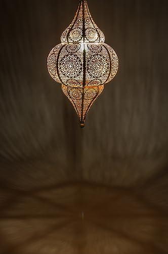 Lámpara Oriental Marroquí - lamparilla colgante - farola de techo Malha Blanco - 50cm - muy práctica para una iluminación excelente - transmite una ...