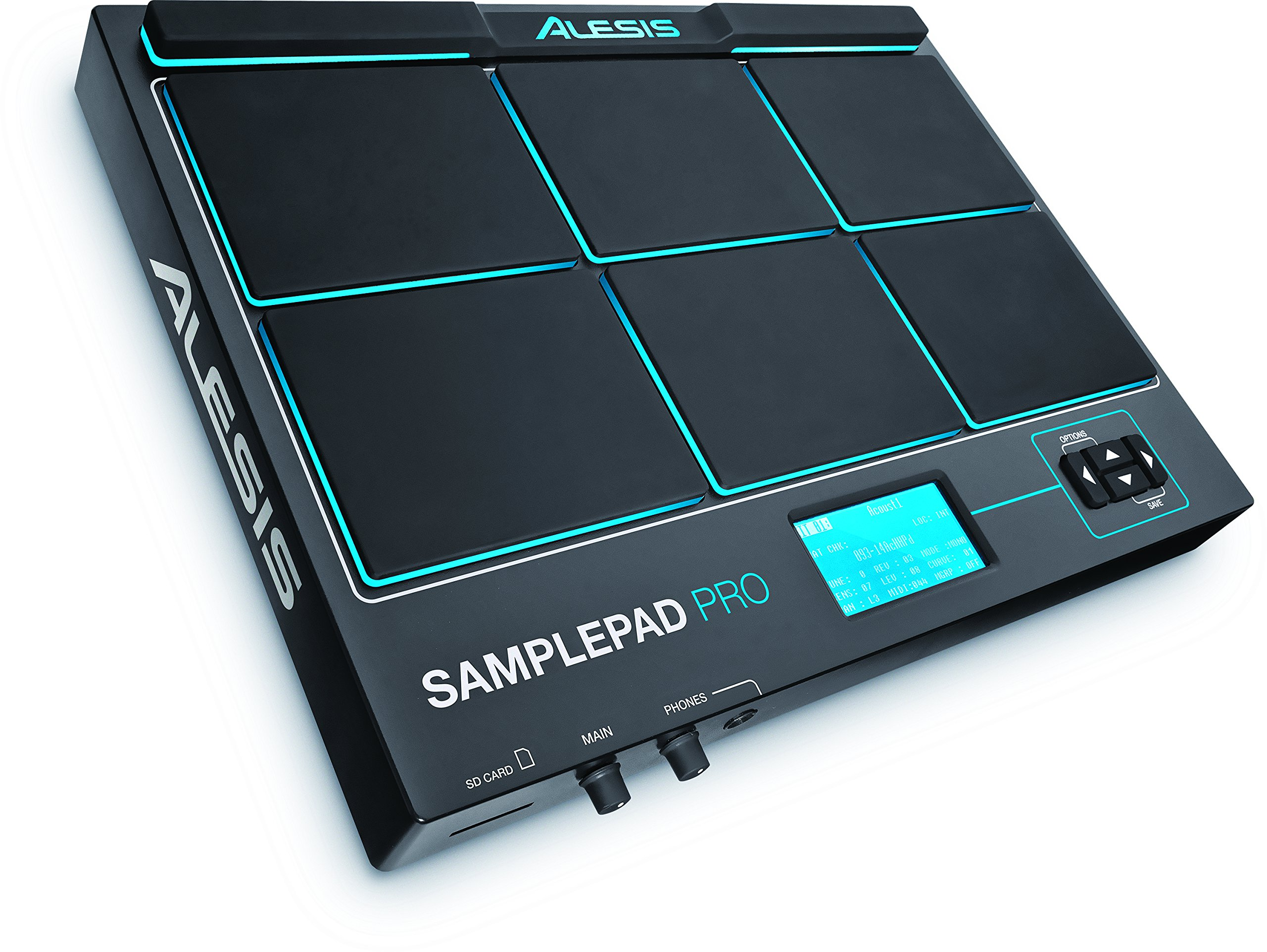 Alesis Sample Pad Pro | Percussion and Sample-Triggering Instrument With Responsive Dual Zone Rubber Pads, Active Blue LED Illumination, Expansion options for 2 more Triggers and 200+ Built-in Sounds by Alesis