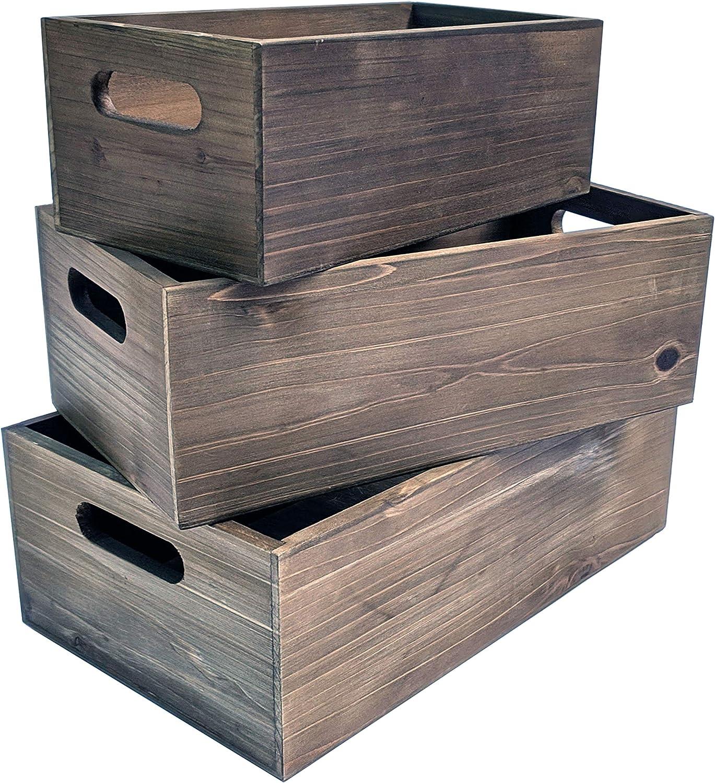 Nesting Wood Storage Crates - Set of 3 - Decorative Craft Crates - Real Wood Rustic Decor - Farmhouse Box - Kitchen Storage - Shower Displays - Burnt Umber Stain
