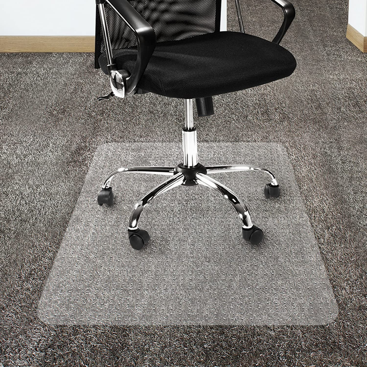 amazon com office marshal polycarbonate chair mat for high pile