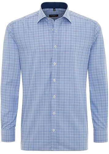 ETERNA Modern Fit Hemd Langarm mit New Kent Kragen Karo blau