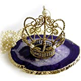 """The Royal Gift Shop: Authentic Brazilian Agate SLICE with 24K Gold Plated Rim -Purple (5""""-6"""") Protective rubber bumpers."""