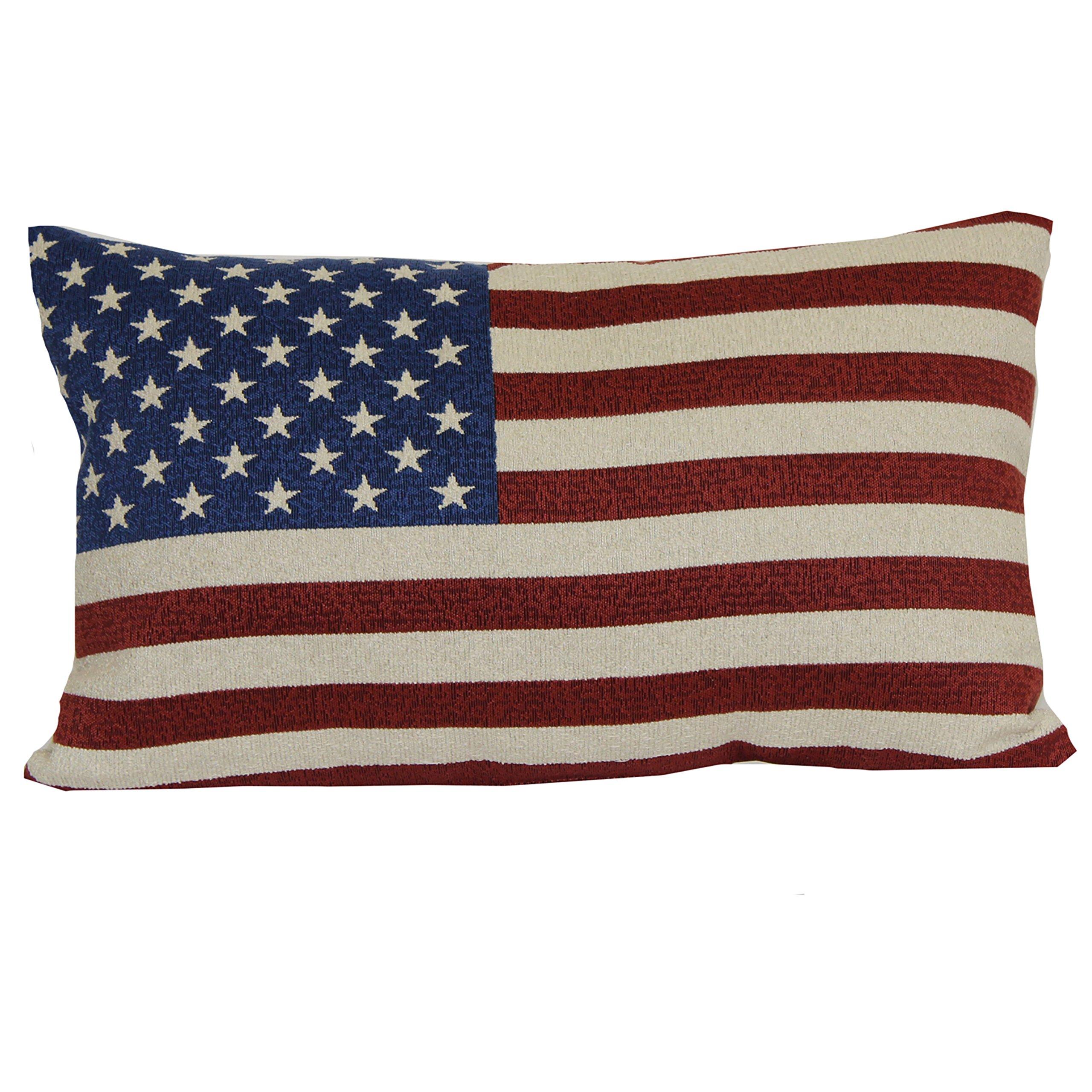 Brentwood Originals 08415001 Indoor/Outdoor Pillow, 12'' x 20'', American Flag