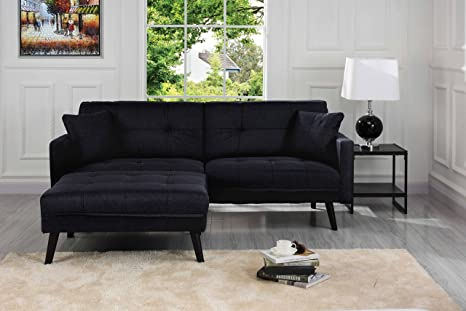 Amazon Com Used Sofas Couches Living Room Furniture >> Sofamania Mid Century Modern Linen Fabric Futon Small Space Living Room Couch Black