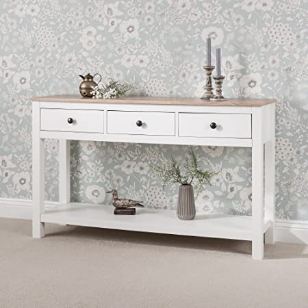 Laura James White Console Table 3 Drawers with shelf Amazonco
