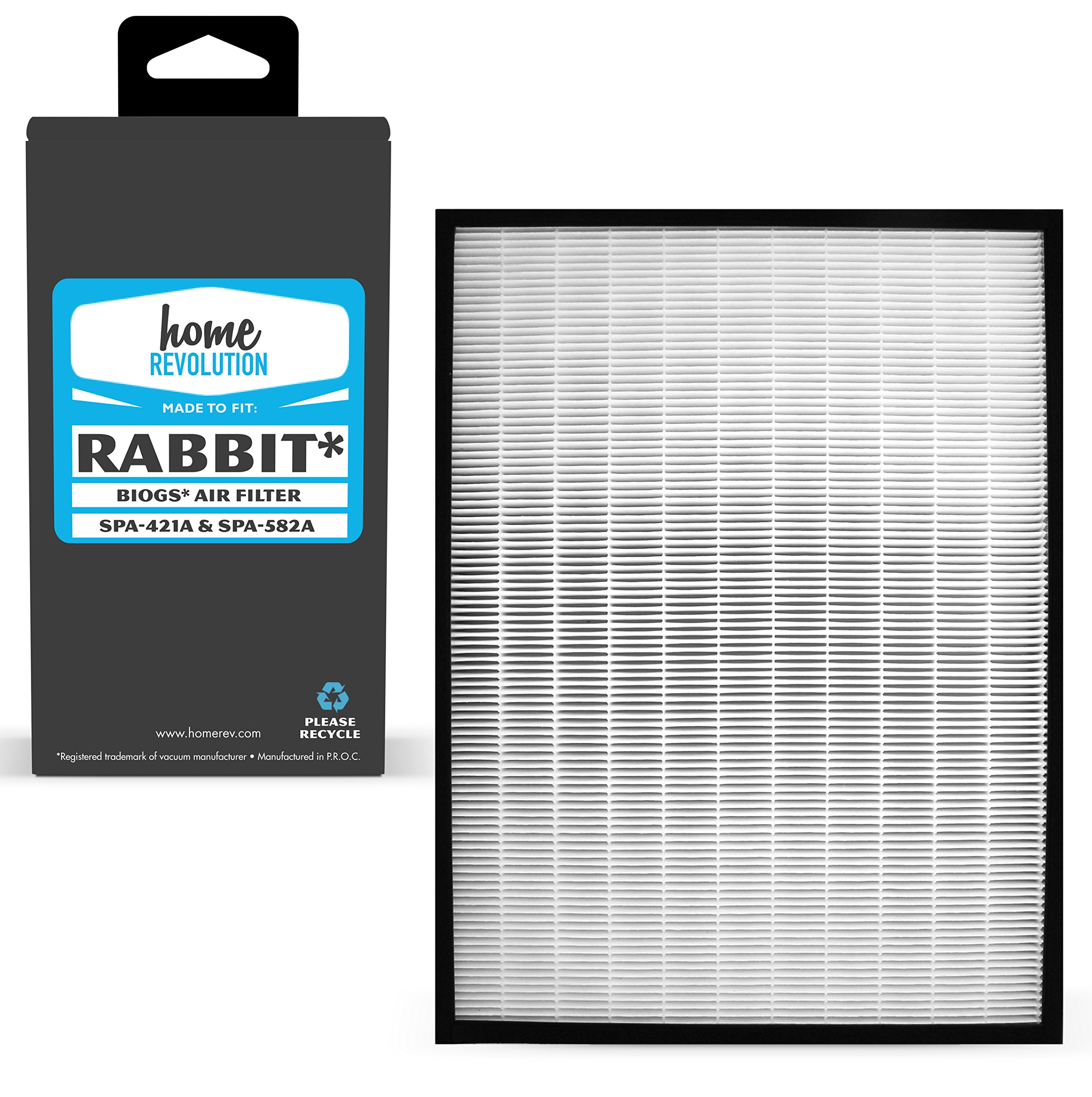 Home Revolution Replacement HEPA Filter, Fits Rabbit Air BioGS, BioGP SPA-421A and BioGP SPA-582A Air Purifier and Part SPA-421A & SPA-582A