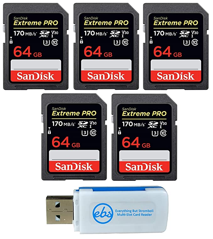SanDisk 64GB (Five Pack) Extreme Pro Memory Card (SDSDXXY-064G-GN4IN) SDXC 4K V30 UHS-I with Everything But Stromboli (TM) Combo Reader