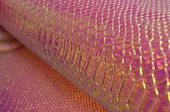 Paño de Aspecto Cuero PU Piel de serpiente material de tela de tapicería-Púrpura