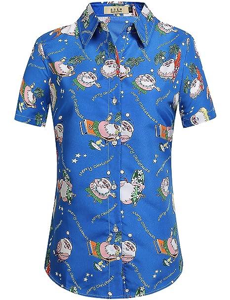 686c5ae6 SSLR Women's Party Santa Claus Short Sleeve Hawaiian Ugly Christmas Shirt  (X-Small,
