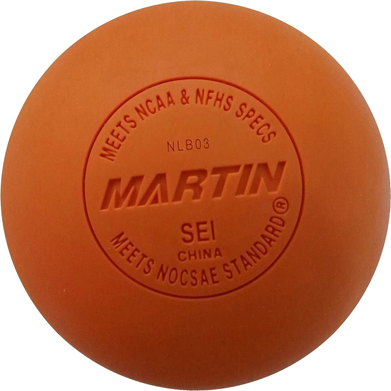 Martinスポーツラクロスボール、NOCSAE満たし、NHFS標準、Sei認定、12のパック オレンジ