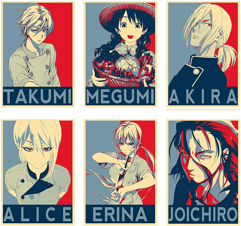 Wall Art Food Wars Anime Characters Takumi Megumi Akira Alice Erina Joichiro Poster Prints Set of 6 Size A4 (21cm x 29cm) Unframed GREAT GIFT