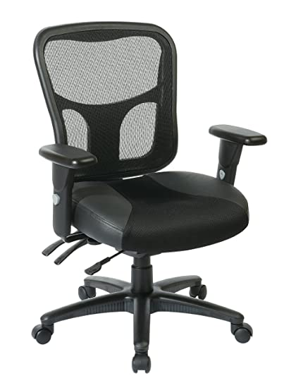 Office Star Breathable ProGrid Back With Leather And Mesh Seat Adjustable  Black Managers Chair And Nylon
