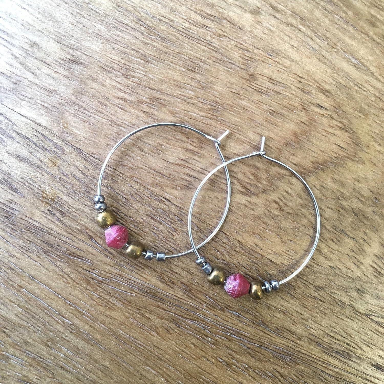 Paper Bead Hoop Dignity Earrings - Red - Fair Trade BeadforLife Jewelry from Africa