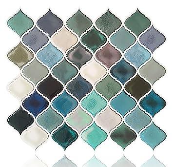 Fam Sticktiles Teal Arabesque Peel And Stick Tile For Kitchen - Peel-and-stick-backsplash-tile-property