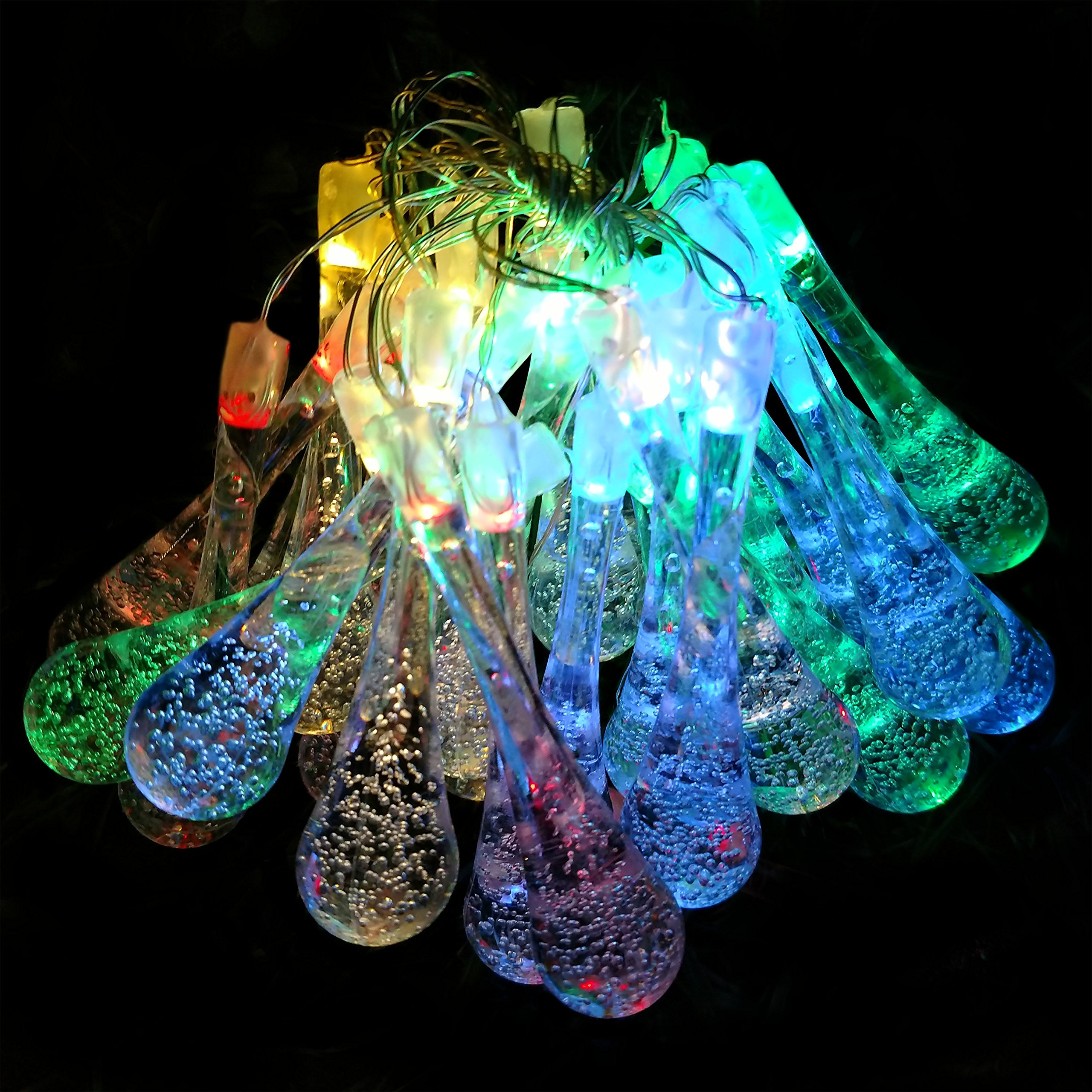 Hometown Evolution, Inc. Solar Powered Water Drop String Lights - 30 LED Multi Colored, 8 Modes, Outdoor Waterproof for Gardens, Patios, Yards, Home, Parties and More