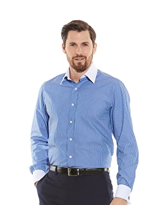 6d3d1df7 Savile Row Men's Navy White Reverse Stripe Contrast Collar and Cuff Slim  Fit Shirt - Double Cuff 14 1/2