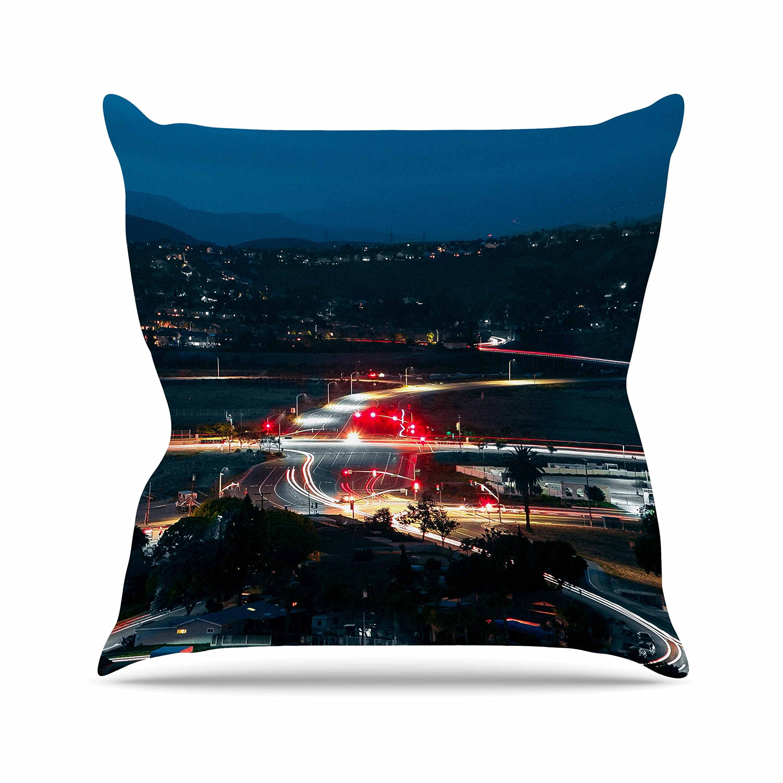 Kess InHouse Just L Chasing Lights Blue Red Outdoor Throw Pillow, 16'' x 16''