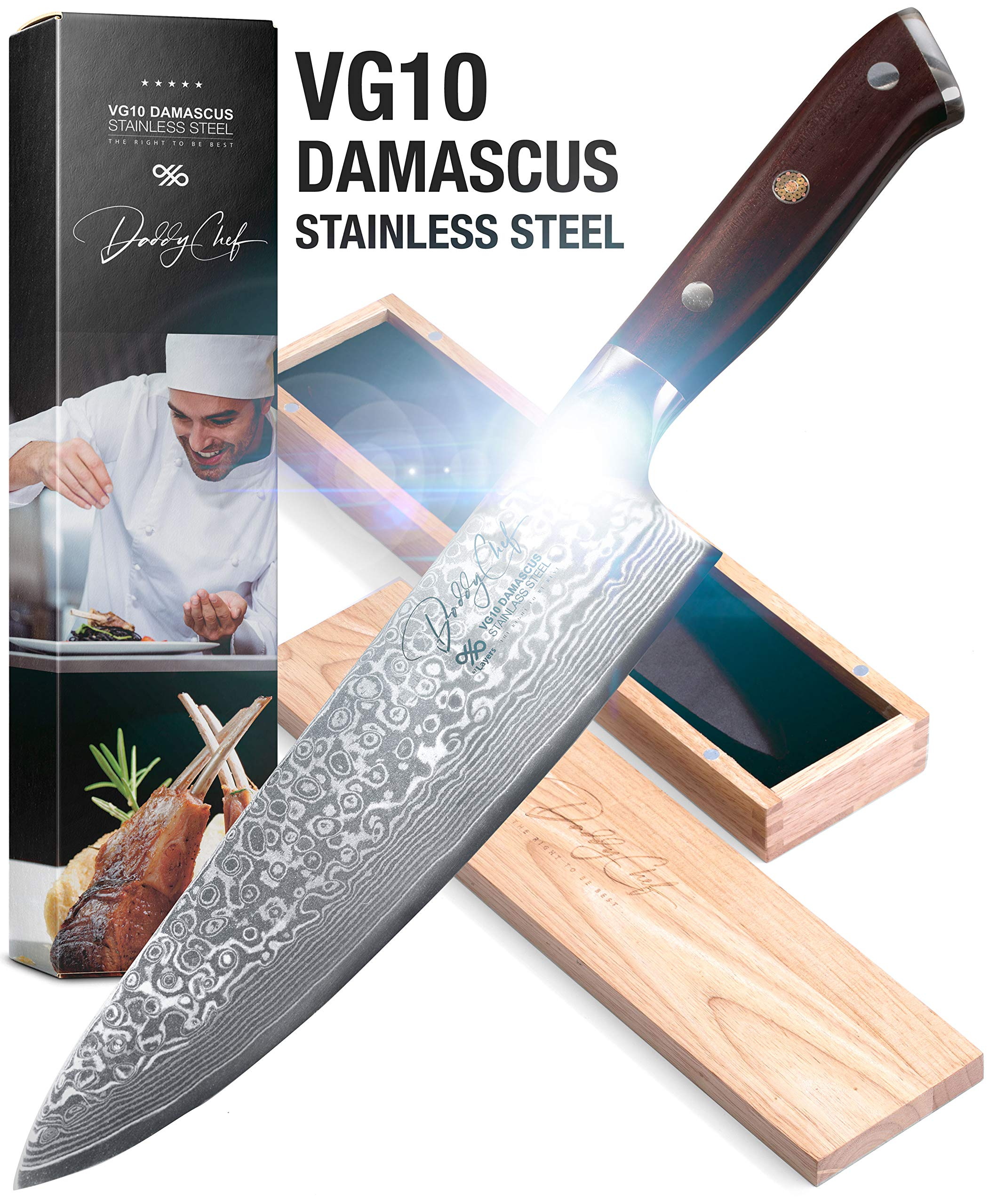 Daddy Chef Damascus Chef Knife - 8 inch Blade from Japanese VG10 67 Layer Stainless Steel - Professional and home kitchen chefs chopping carving knife - Forged Carbon - Ergonomic G10 Handle Knives