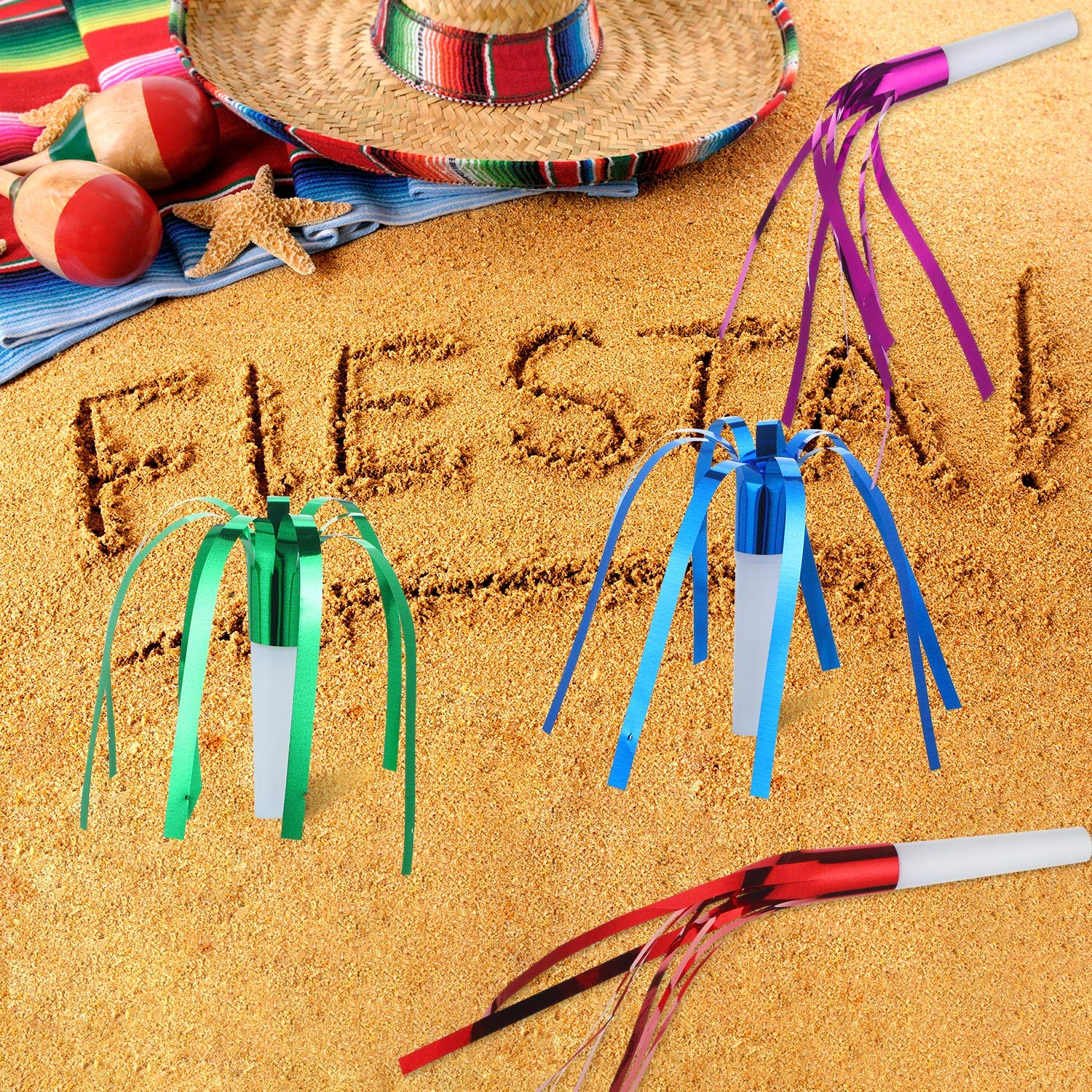 Gejoy 36 Pieces Party Whistle Fiesta Party Blowers Metallic Noisemakers Glitter Fringed Colorful Noise Maker for Mexican Fiesta Party Supplies