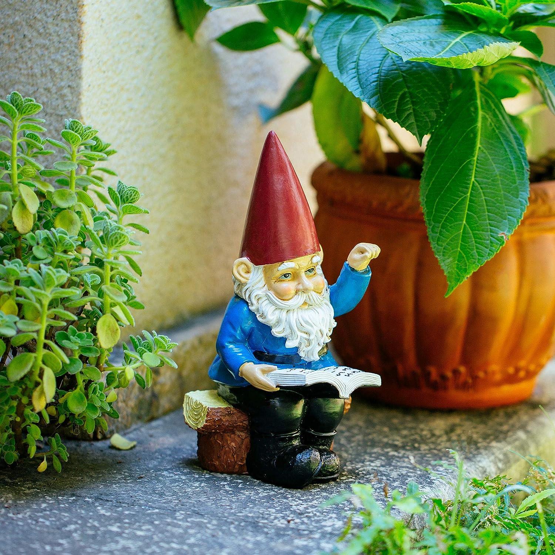 HomDSim - Estatua de gnomo de jardín en la lectura de enanos de 9,5 pulgadas, polirresina, a todo color, divertidos adornos de césped y estatuas: Amazon.es: Hogar