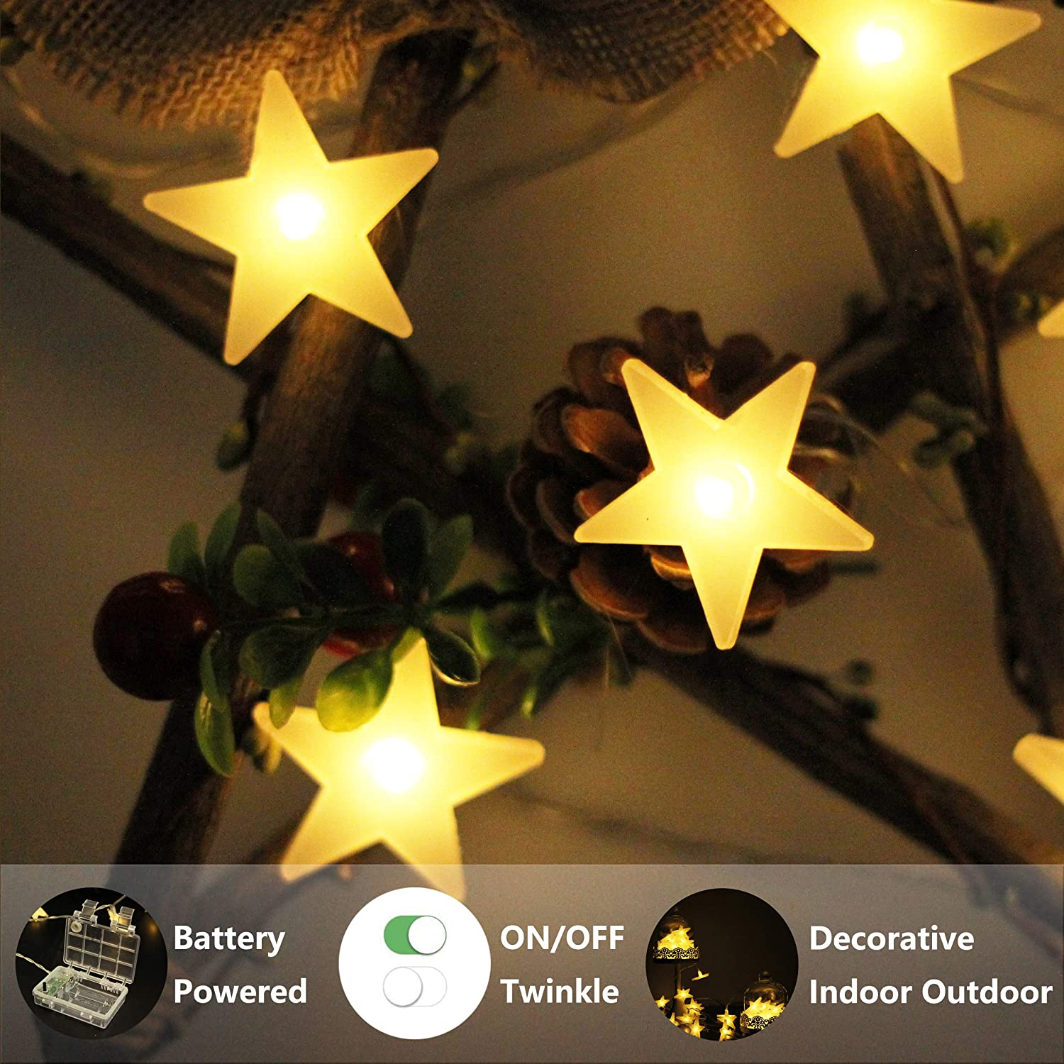 Louischoice Star String Lights Battery Powered Twinkling Led Christmas 40 Warm White Decorative Stars For Kids Room Wedding Birthday Holidays