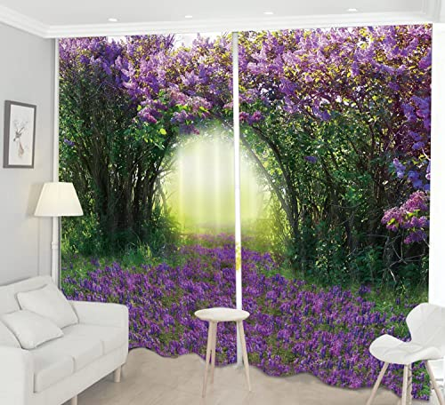 LB Teen Kids Scenery Decor Collection,2 Panels Room Darkening Blackout Curtains,Blooming Purple Flowers 3D Effect Print Window Treatment Curtains Living Room Bedroom Window Drapes,104W x 84L Inches