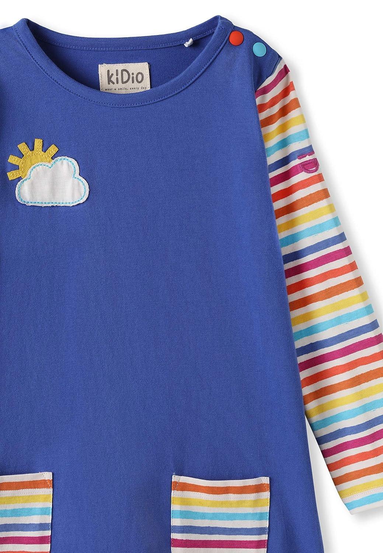 kIDio Bio-Baumwolle Kleid mit Applikation und Taschen Baby Kleinkind M/ädchen Blau Regenbogen Streifen 0-4 Jahre
