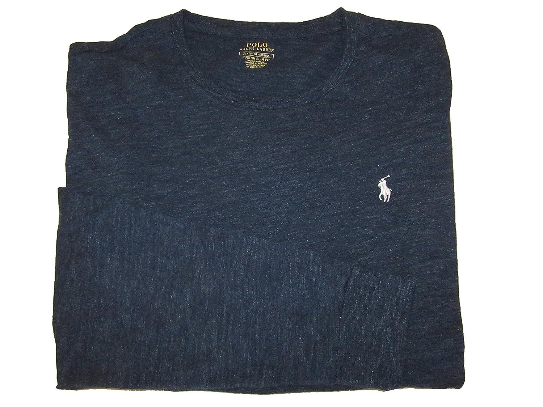 7eb42331 RALPH LAUREN Polo Mens Custom Slim Fit Crewneck Long Sleeve T-Shirt  (X-Large, Blue) | Amazon.com