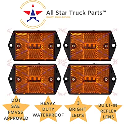 "[ALL STAR TRUCK PARTS] Square Red/Amber 3-LED Marker Light Reflectorized Lens Surface Mount, 2-4/5"" Rectangular Truck Trailer Towing Led Light Side Reflector Reflex Accessories (Amber, 4): Automotive"