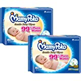 MamyPoko Baby Wipes Regular, Pack of 2 x 80 Count