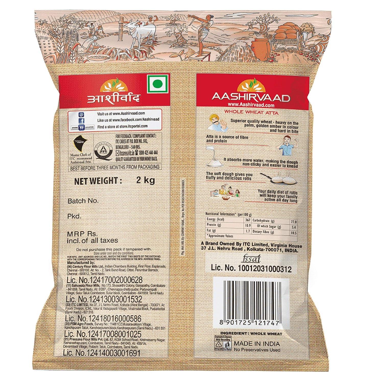 ITC Aashirvaad Whole Wheat Atta, 100% Whole Wheat, 0% Maida -2 Kg