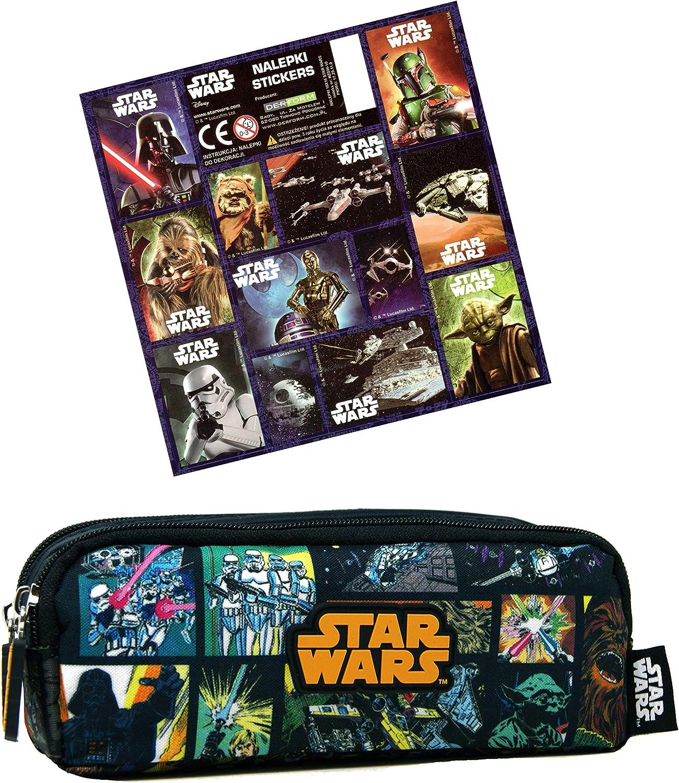Star Wars – Estuche doble (20 x 8 x 7 cm) + 12 pegatinas – Super Doble Estuche para la escuela: Amazon.es: Hogar