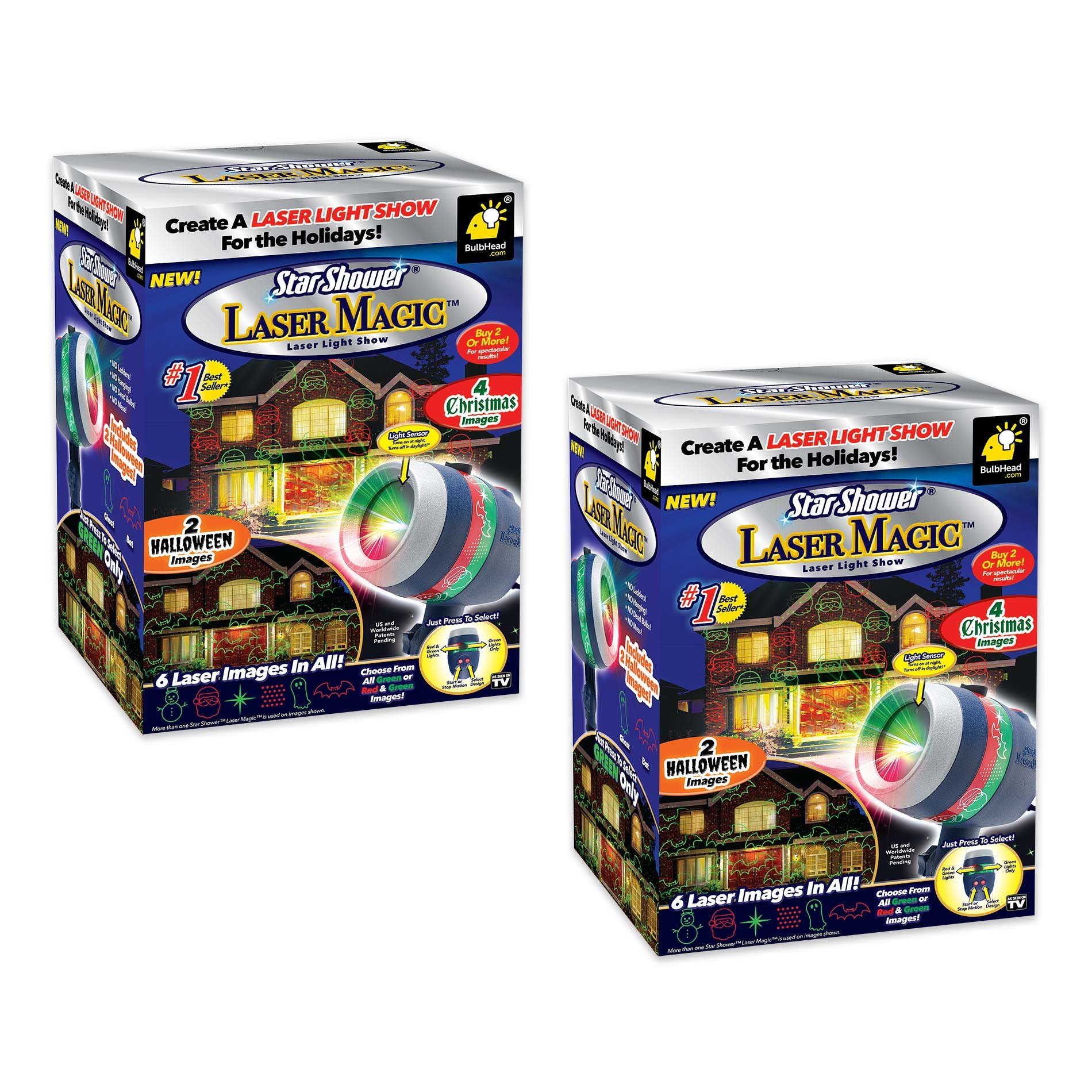 New 2017 Star Shower Laser Magic by BulbHead Includes 6 Festive Designs for Christmas (4) and Halloween (2) (2 Pack)