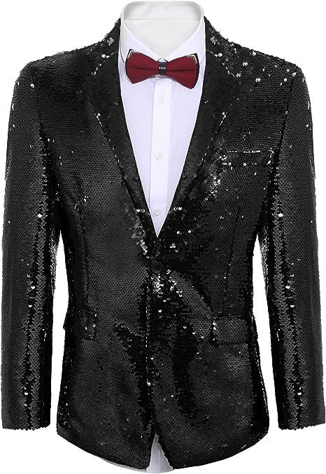 Amazon.com: Coofandy Chaqueta de traje de lentejuelas ...