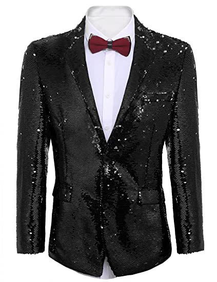 coofandy men s shiny sequins suit jacket blazer one button tuxedo