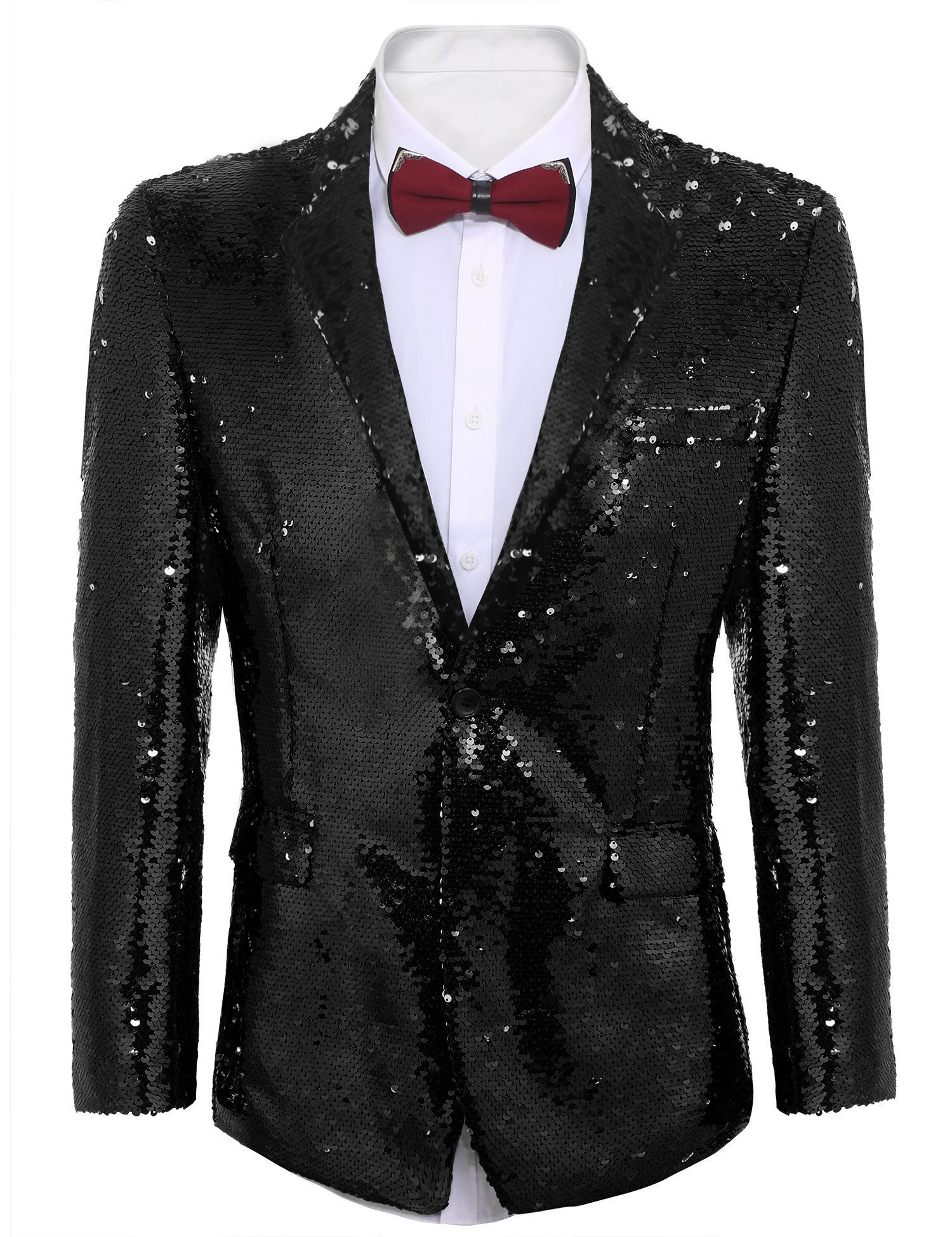 Coofandy Shiny Sequins Suit Jacket Blazer One Button Tuxedo For Party,Wedding,Banquet,Christmas,Nightclub Black X-Large