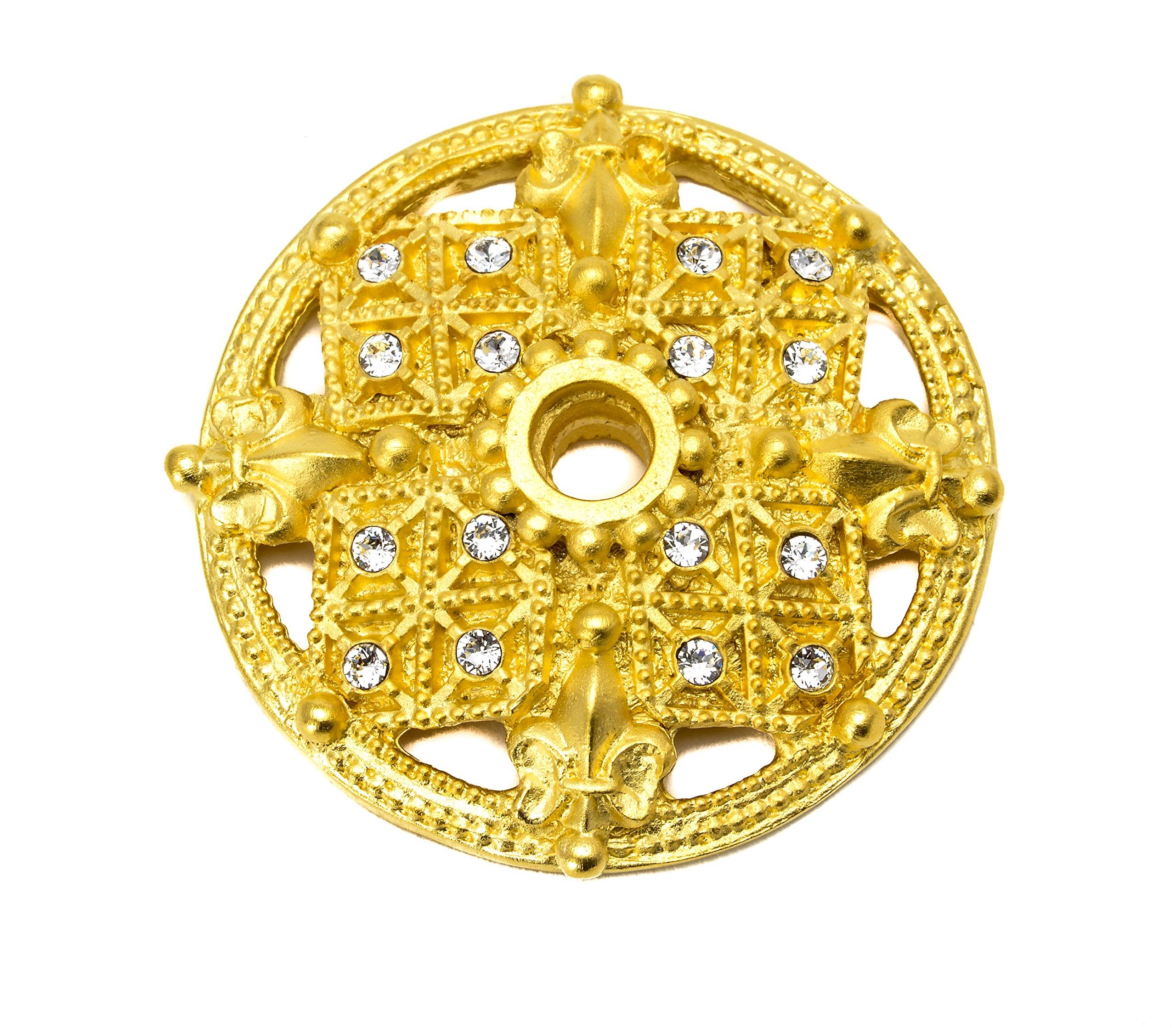 Carpe Diem Hardware 7628-8C Versailles Large Round Escutcheon with Swarovski Crystals, Gilded Mercury