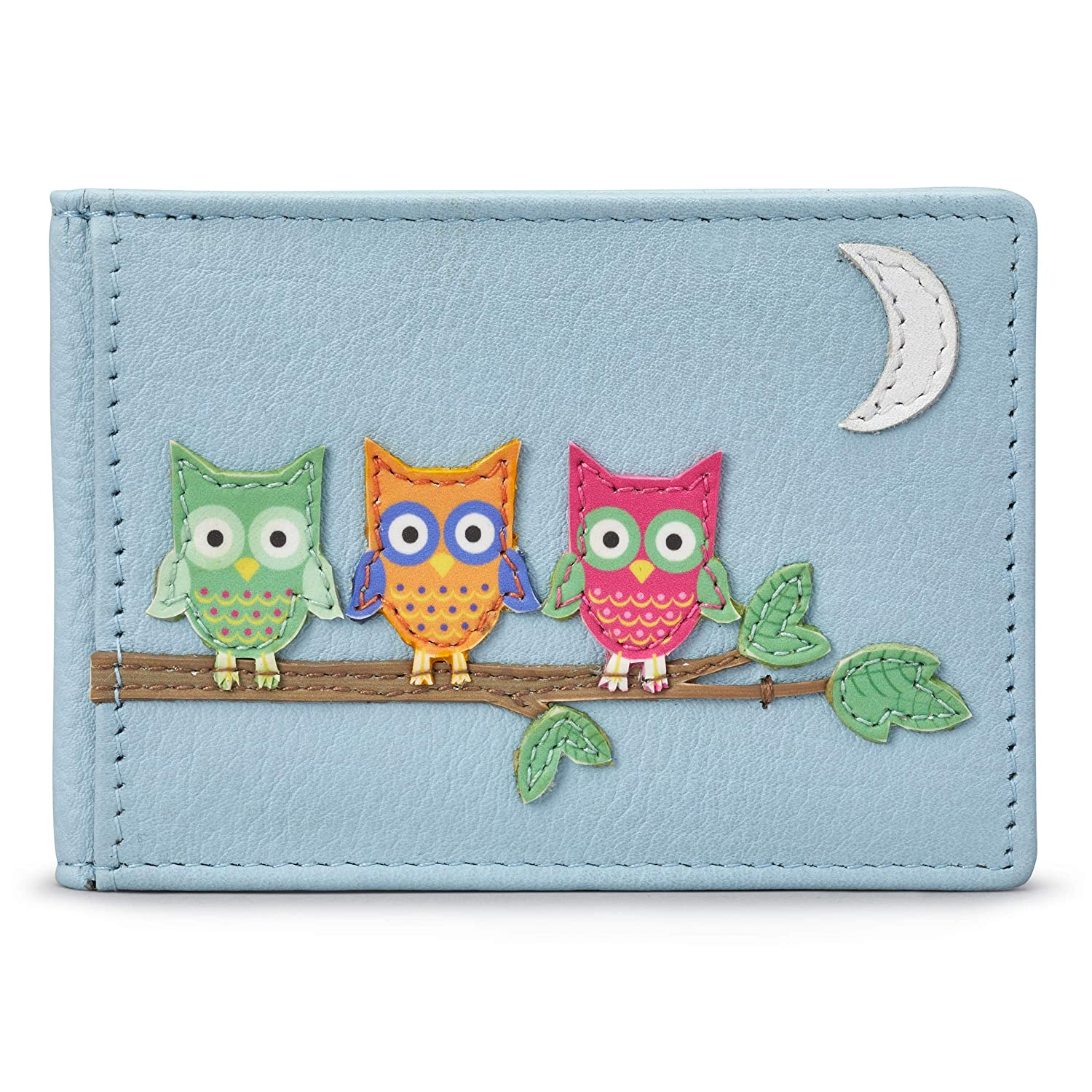 Blue Owl Applique Leather Oyster Card//Travel Pass Holder by 1642