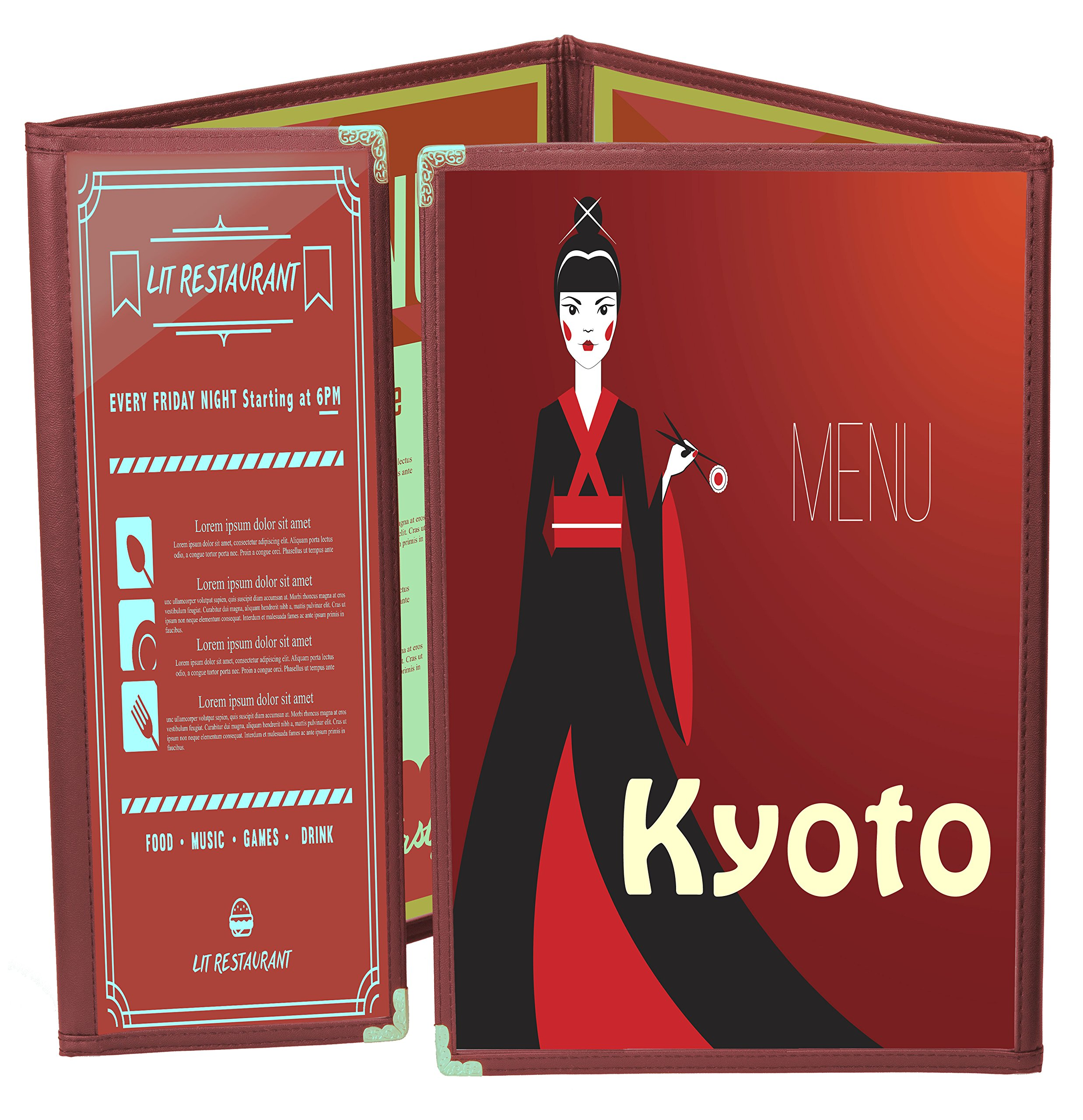 25 BETTER QUALITY Menu Covers #P130T BURGUNDY TRIPLE PANEL FOLDOUT + ONE-HALF - 8-VIEW - 8.25 x 11 & 4.25 X 11 DOUBLE-STITCH Leatherette Edge-Gold corners. SEE MORE: Type MenuCoverMan in Amazon search