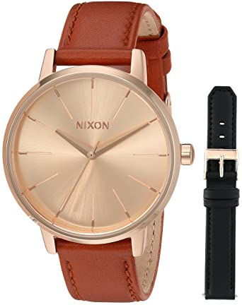 2d097e229 Nixon Women's Kensington Leather Pack Stainless Steel Japanese-Quartz Watch  with Calfskin Strap, Rose